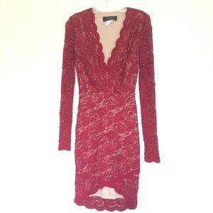 Akira Chicago Black Label Burgundy Dress Size 2